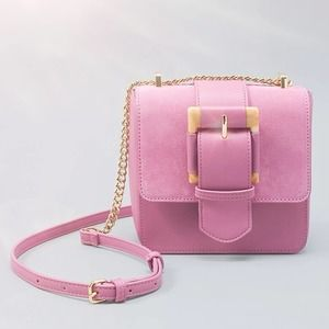 WHBM Pink Buckle Square Clutch Crossbody Bag NEW